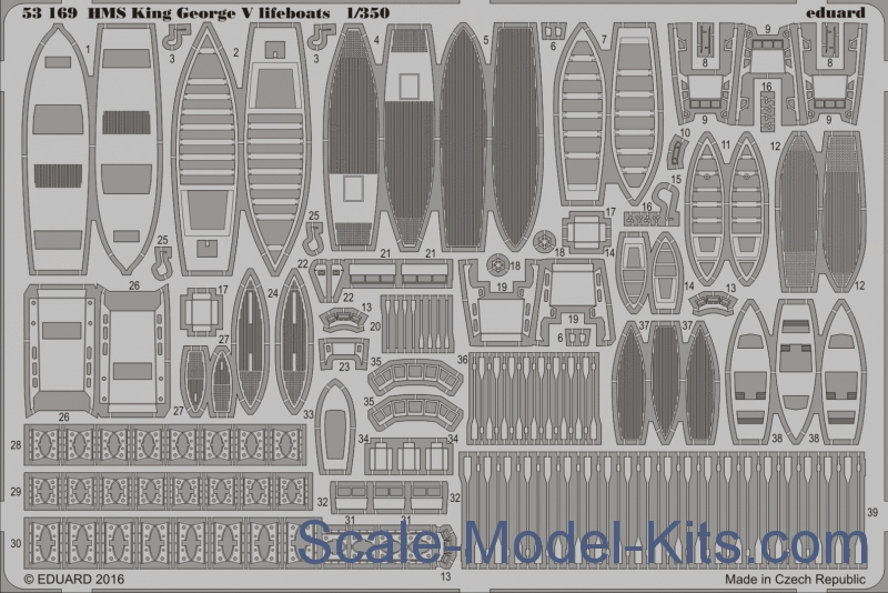 Photoetched set 1/350 HMS King George V life boats, for Tamiya kit
